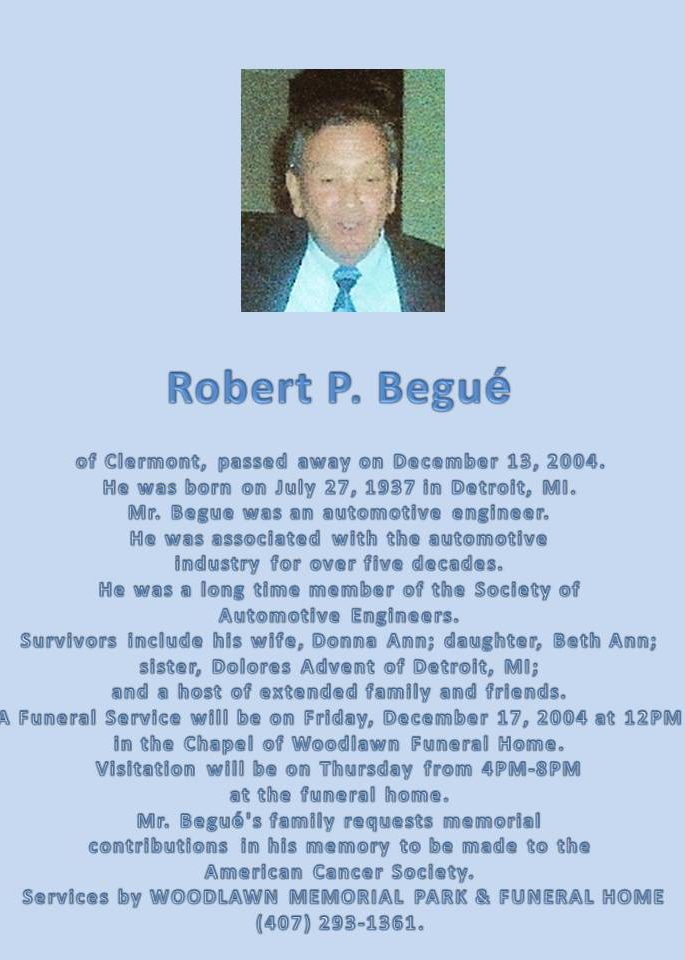Bob (Robert) P. Begue