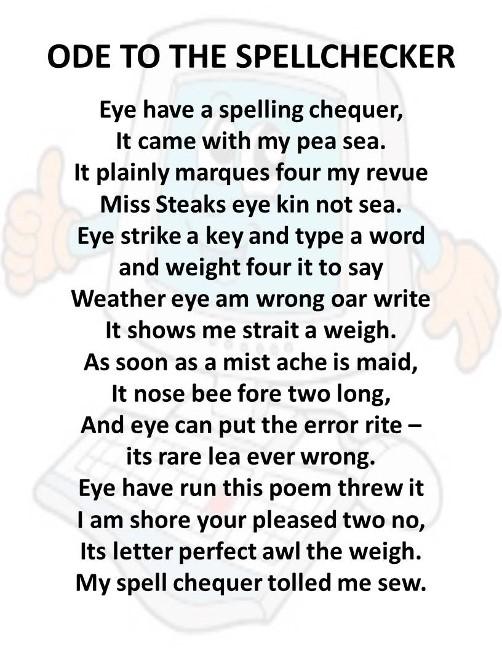 Ode to the Spellchecker