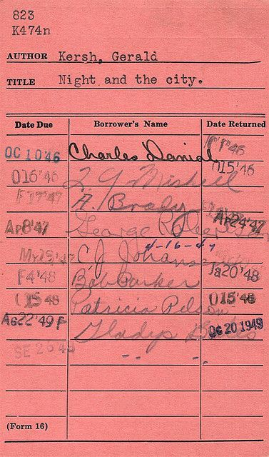 library book card