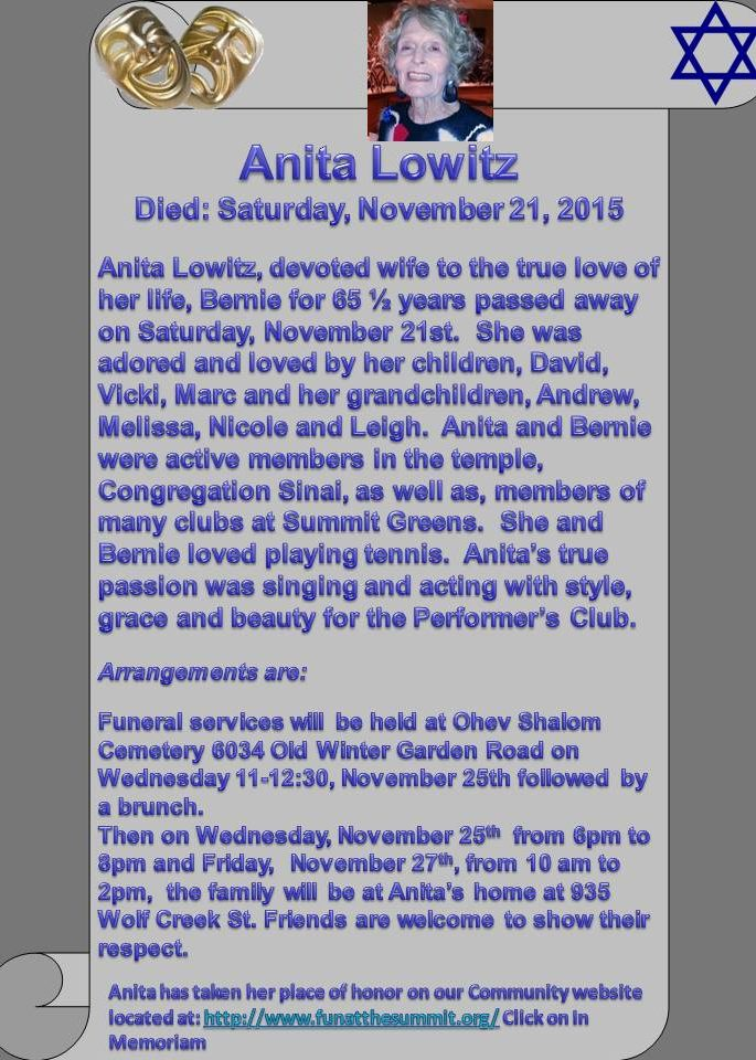 Anita Lowitz Obituary & Services